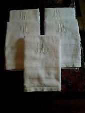 Lot03/ 5 Anciennes Serviettes de toilette éponge brodées monogr M 61x94,5 milXXè
