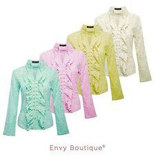 Ladies Womens Retro Lace Cotton Cut Out Floral Shirt Blouse Dress Front Tie Top