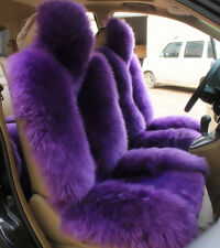 1pc Purple Real Australian Sheep Skin Car Long Wool Front Seat  Fits Most Cars