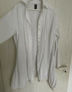 b1 ☀️ Damen Zipfel Bluse / Jacke weiss ☀️ Lagenlook Gr  XL XXL / 44
