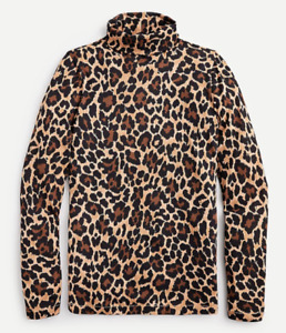 J Crew Turtleneck Womens Small Authentic New Long Sleeve Cotton Leopard Print