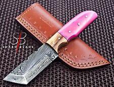 "Beautiful Handmade Damascus Steel Hunting Tanto Knife""Dyed Bone Handle""(5035)"
