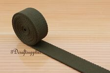 5yards 1 inch polyester-mixed cotton webbing key fob strap deep olive green ZB47
