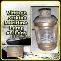 Antique Perkins Mast Nautical Oil Lantern Lamp Perko Burner Fresnel Lense no 8