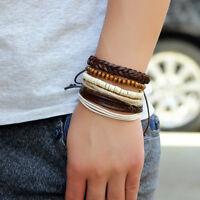 Fashion Women Mens Braided Adjustable Leather Bracelet Punk Jewelry Cuff Gift