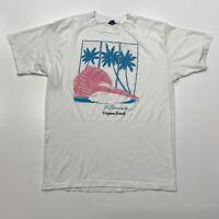 Daytona Beach Florida Beach T-Shirt Vtg 80s 50/50 Seashell Palms Ocean Tee L