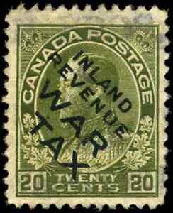 Canada #MR2C1 used F-VF 1915 War Tax 20c olive green Overprint CV$95.00