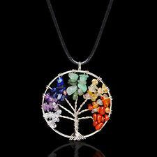1x Natural Crystal Tree of Life Quartz Rhinestone 7 Chakra Pendant Necklace Sale