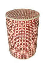 Eye Design Bone Inlay Antique Handmade Red Pink Round Stool