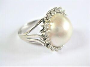 Anello Oro Bianco con Perla E Diamanti, 6,95 G