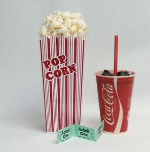 Fake Food movie night props tall container of popcorn w/soda