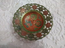 "Metal Enameled Floral Trinket Bowl 15cm 5.9"""