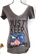 "Disney ""Just Keep Swimming "" Gray Nemo T-Shirt Cotton Size S Small"
