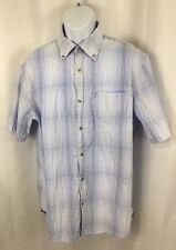 Hart Schaffner Marx Men's Crinkle Blue Plaid S/S Button Down Shirt XL