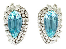21.12ct Aquamarine 5.86ct Diamond 18Carat White Gold Clip on Earrings - Vintage