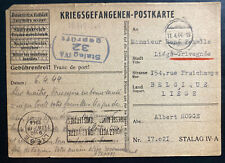 1944 Germany Stalag 4A POW Prisoner of War Postcard Cover to Belgium A Hogge