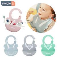 2PC Set Silikon Bibs Baby Lätzchen Latzchen für Mädchen Jungen mit Auffangschale