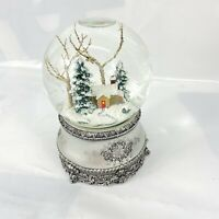 Cottage w Tree Glitter Snowglobe Silver Bass Dome Plays Ill Be Home 4 Christmas