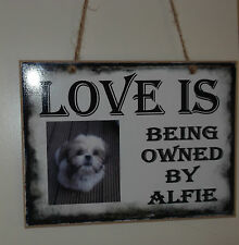 Personalised wood & metal Photo Plaque Dog Cat memory keeper FREE P&P
