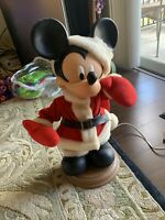 """Vintage Santas Best Animated Moving 1996 Mickey Mouse Christmas 21"""" Thailand"""