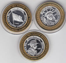 Lot Set of 3 2002 Plaza Saluting US Heroes .999 Fine Silver $10 Casino Token