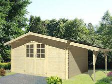34 mm Gartenhaus  4x4m Leipzig G + Schleppdach Gerätehaus Blockhaus Datsche Holz