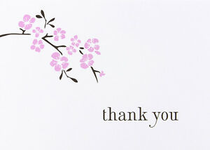 Cherry Blossom Asian Wedding Thank You Notes 50/pk