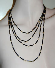 VINTAGE JET BLACK GLASS TUBE BUGLE BEAD GRADUATED NECKLACE 20 INCHES JAPAN NOS
