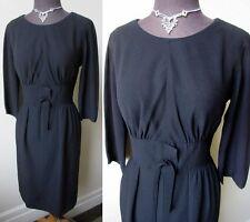 50's Vtg. Mid-Century Glam Leslie Fay Detailed Little Black Cocktail Vixen Dress