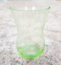 Vintage Scarce Unique eon Green Swirl Design Glass Tequila Shot Tumbler