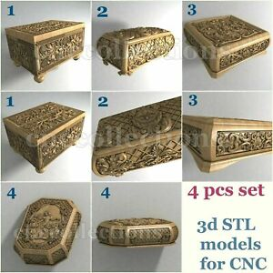 4 pcs set 3d stl models  for CNC Router Artcam Aspire