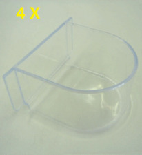 Feeder Cup Seed Water Bird Cage Seed Water Clear Plastic Feed Dish, Pack of 4