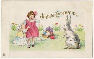 030921 LOVELY VINTAGE STECHER EASTER POSTCARD CHILDREN WITH GIANT BUNNY RABBIT