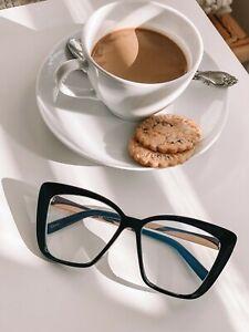 XXL OVERSIZED Cat Eye MISS QUEEN Clear Lens Eyeglasses Glasses SHADZ