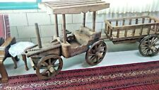 Vintage Hand Carved Natural Wood Wooden BIG TRACTOR WHIT TRAILER Home Decor