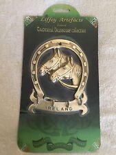 Irish Brass Ireland Horseshoe Horse Heads Keyrack Plaque Four Hangers