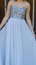 MISSES GRAY FORMAL FULL LENGTH DRESS ONE BY EIGHT SZ 2 SPARKLY BEADED CHEST