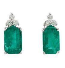 Emerald Cut Genuine Emerald Gems & 1/8 ct tw Diamonds Studs in 14K Gold Earrings