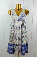 ODD MOLLY Kleid Seidenkleid Hängerchen Seide Batik Bunt Dunkelblau Ecru Gr. 1/36