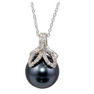 ELEGANT NECKLACE PENDANT W/ LAB PEARLS & DIAMONDS / 925 STERLING SILVER / 18''