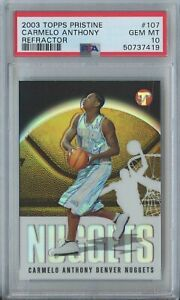 Carmelo Anthony 2003 04 Topps Pristine #107 RC Rookie Refractor 1185/1999 PSA 10
