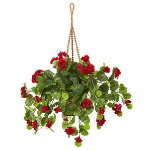 27 Geranium Artificial Plant in Hanging Basket