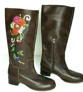 Urban Soul Brown Leather Boho Emroidered Bead Knee High Retro Boots Size 6.5