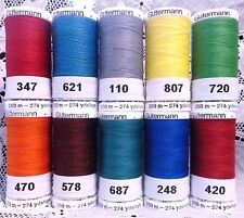 10 NEW bright colors GUTERMANN 100% polyester sew-all thread 274 yard Spools
