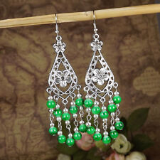 Women Vintage Fashion Bohemian Boho Multi-color Beads Dangle Alloy Drop Earring