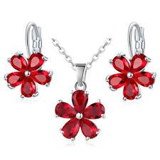2 PC Lot Charm Red Garnet Morganite Topaz Silver Necklace + Earrings for Women