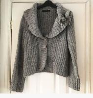 Marc Cain Grey Chunky Knit Wool Blend Cardigan Frill Ruffle Collar & Lapel Sz N3