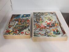 Lot of 2 Vintage West German Christmas Glitter Advent Calendar Train Sleigh
