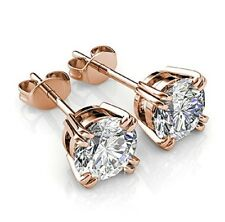 Rose gold finish round cut 4 claw created diamond stud earrings