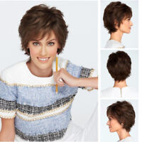 Fashion Natural Short Curly Wigs Dark Brown Costume Cosplay Party Wig Daily Wig